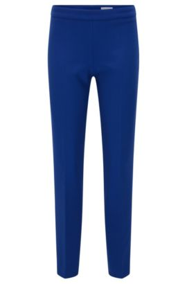 Regular-fit trousers in a stretchy material blend with viscose and cotton: 'Tiluna_SideZip', Blue