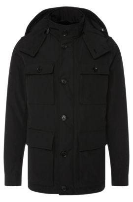 Wasserabweisende Jacke mit abnehmbarer Kapuze: 'Cedar', Schwarz