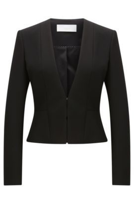 Fitted blazer in a stretchy material blend with viscose and cotton: 'Jemida', Black