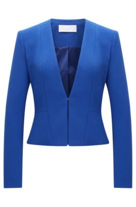 Fitted blazer in a stretchy material blend with viscose and cotton: 'Jemida', Blue