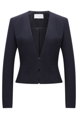 Fitted blazer in a stretchy material blend with viscose and cotton: 'Jemida', Open Blue