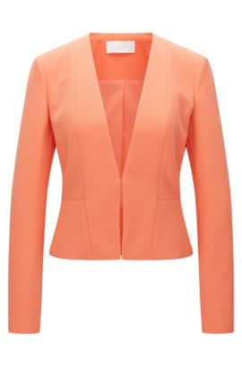 Fitted blazer in a stretchy material blend with viscose and cotton: 'Jemida', Light Red
