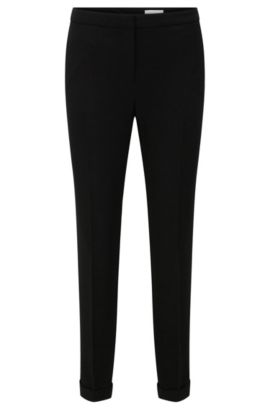 Regular-fit trousers in textured fabric blend with a cropped leg length: 'Alrisa', Black