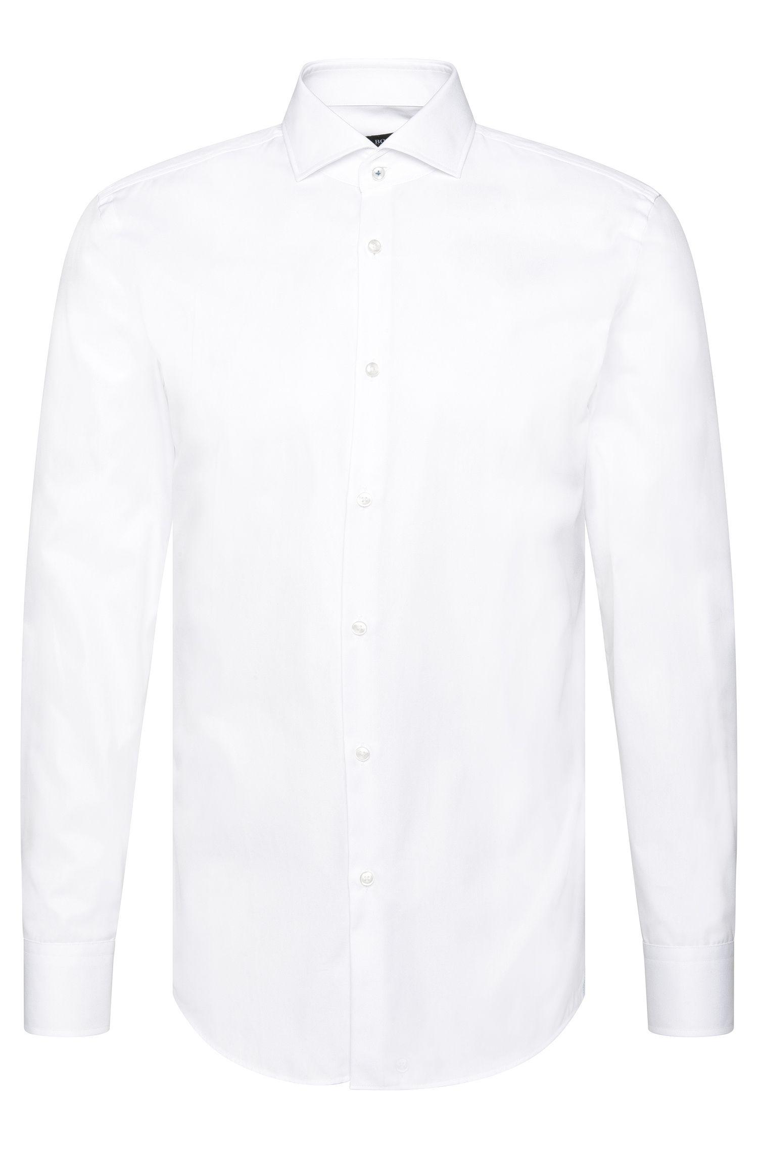 Camicia slim fit in cotone tinta unita: 'Jerrin'