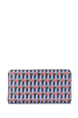 Purse in leather with graphic print: 'Staple Zip Around FP', Patterned