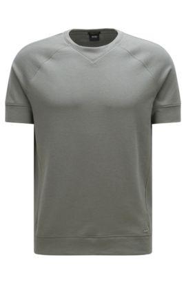 Sudadera regular fit de manga corta en algodón: 'Sealy 01', Verde oscuro