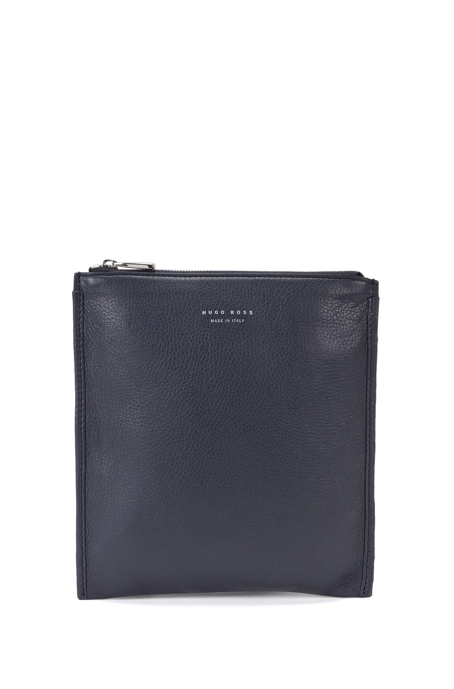 Leather shoulder bag with adjustable shoulder straps: 'Elegance_S zip env'