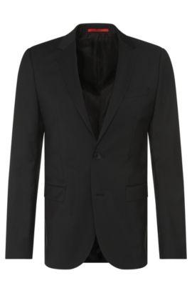 Veste de costume Slim Fit finement structurée en pure laine vierge: «AldonS», Noir