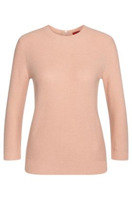 Sweater in cotton blend with viscose and silk: 'Satella', Open Pink