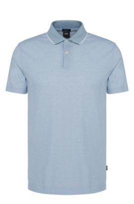 Polo regular fit in cotone con colletto a contrasto: 'Piket 06', Celeste