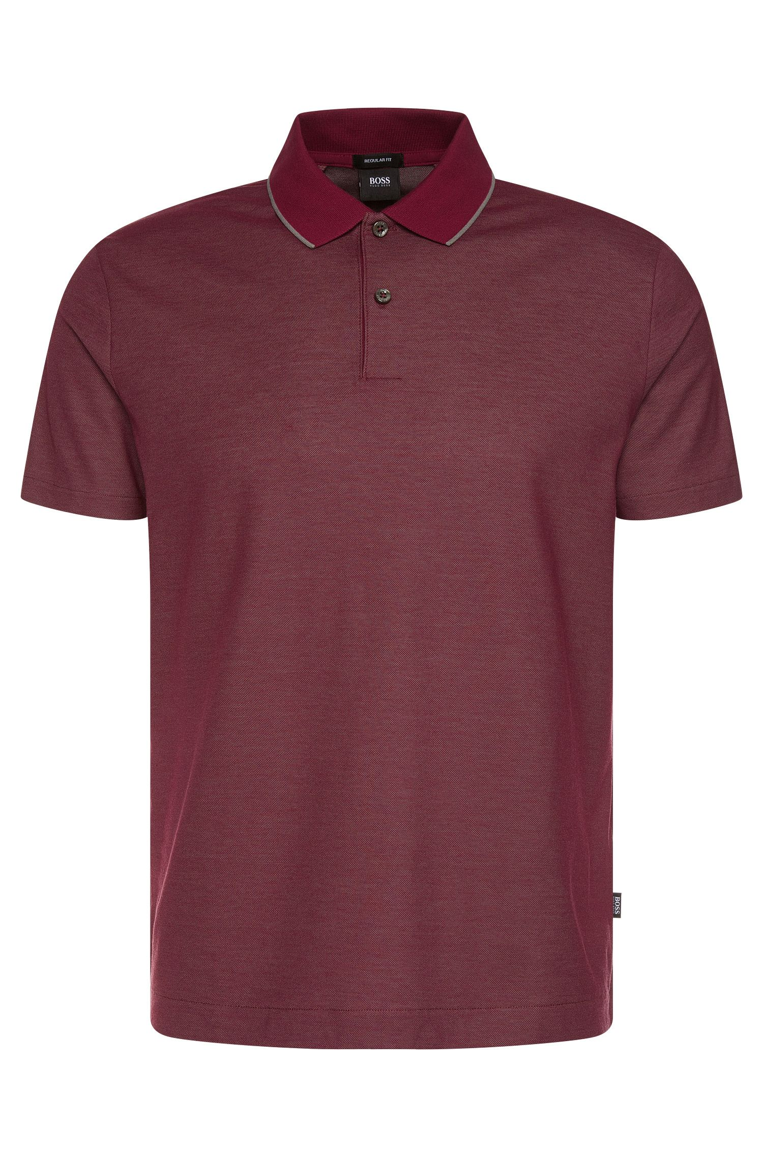 Regular-fit polo shirt in cotton with contrast collar: 'Piket 06'