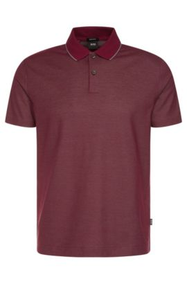 Regular-fit polo shirt in cotton with contrast collar: 'Piket 06', Dark Purple