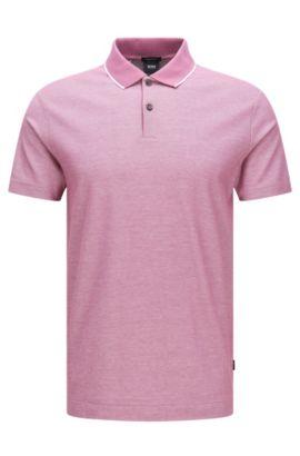 Polo regular fit en algodón con cuello contrastado: 'Piket 06', Pink