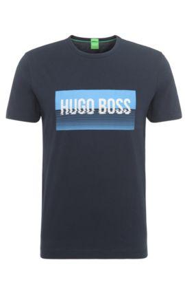Camiseta regular fit en algodón con estampado: 'Tee 1', Azul oscuro
