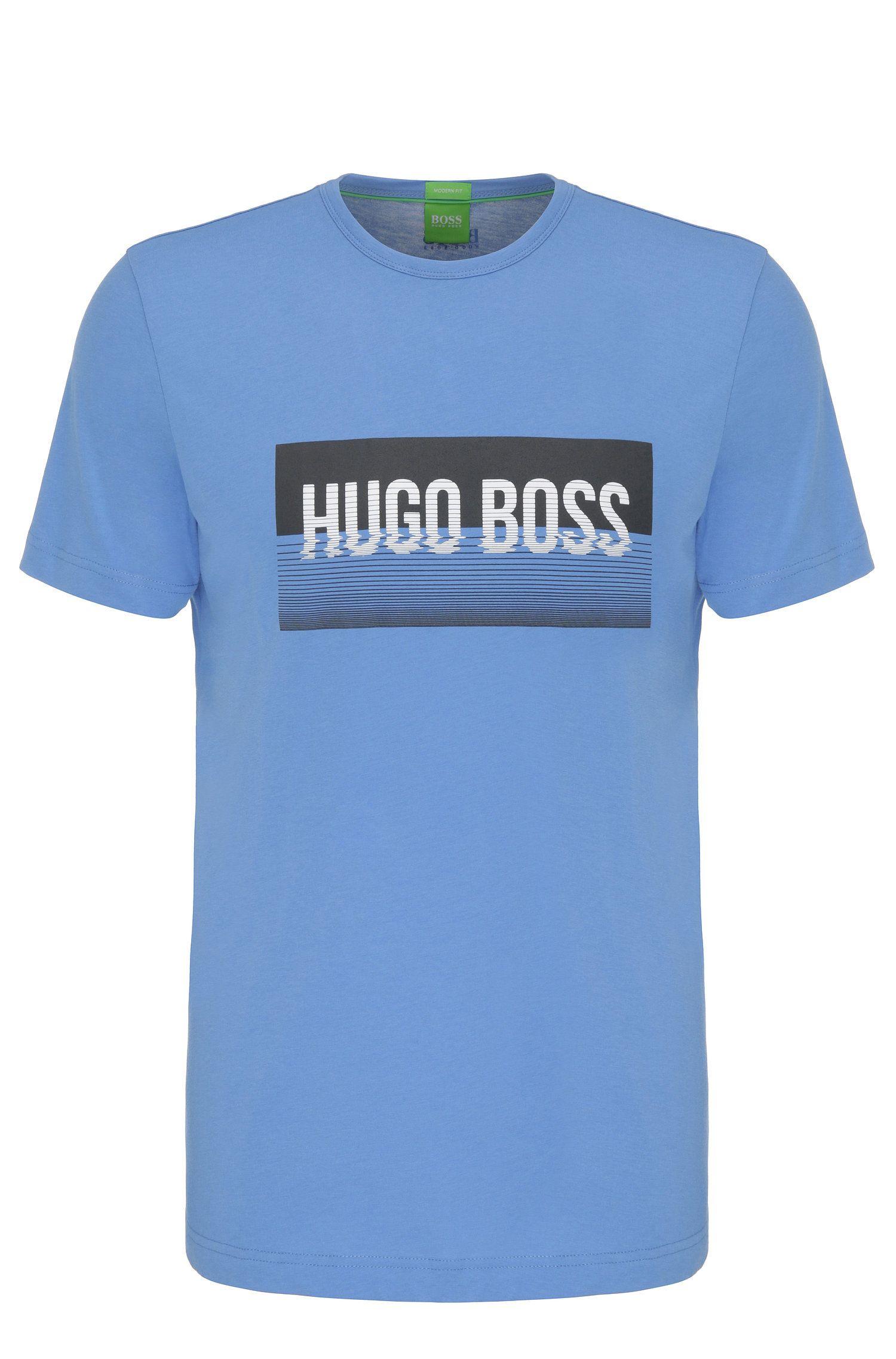 Regular-fit shirt van katoen met print: 'Tee 1'