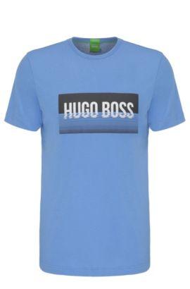 Regular-fit shirt van katoen met print: 'Tee 1', Blauw