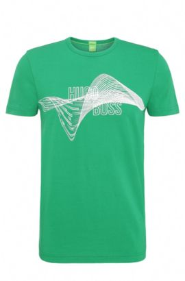 Regular-fit cotton t-shirt with print: 'Tee 2', Open Green