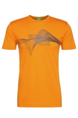 Camiseta regular fit en algodón con estampado: 'Tee 2', Naranja claro