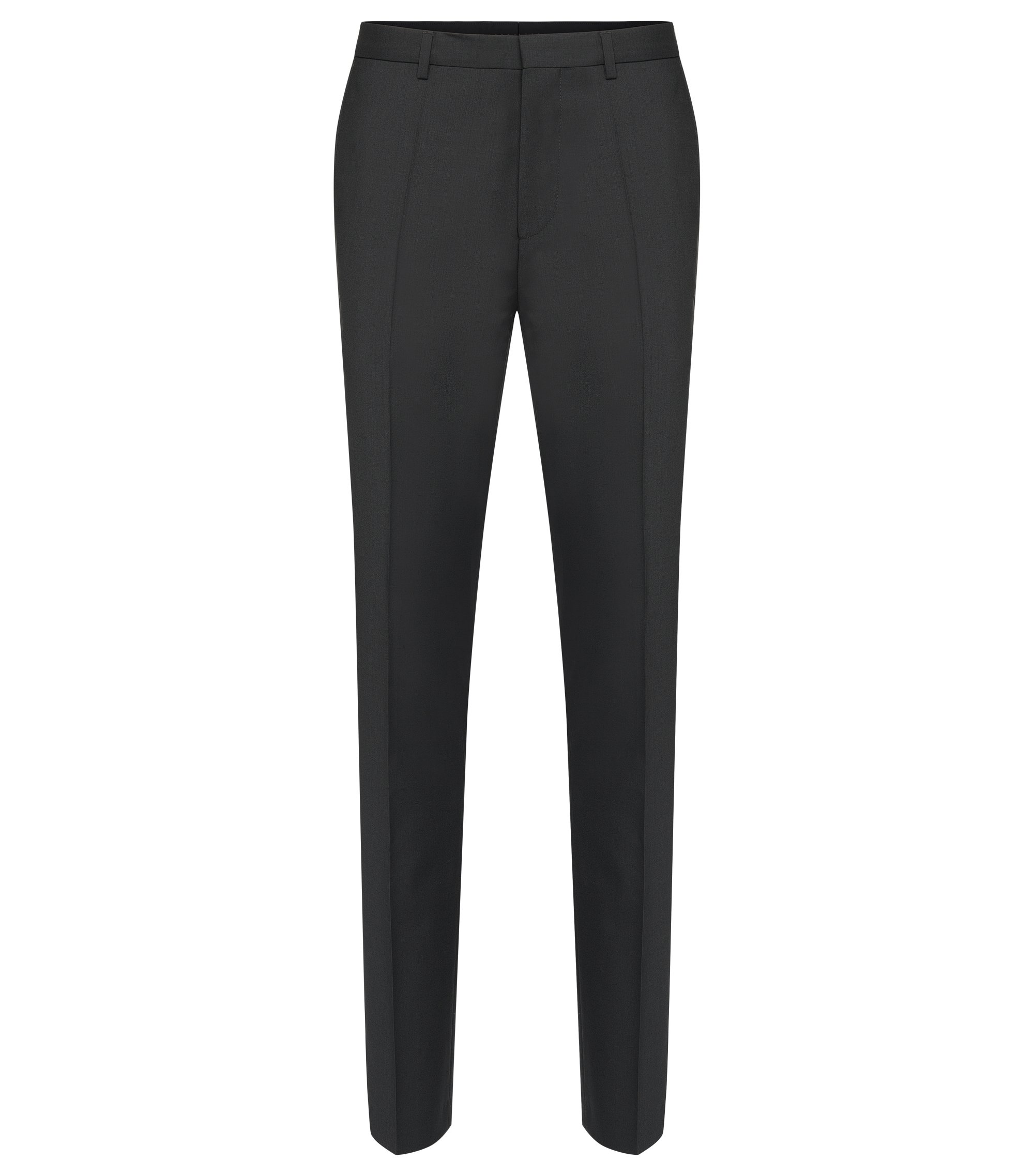 Plain-coloured slim-fit trousers in new wool: 'HartleyS', Black