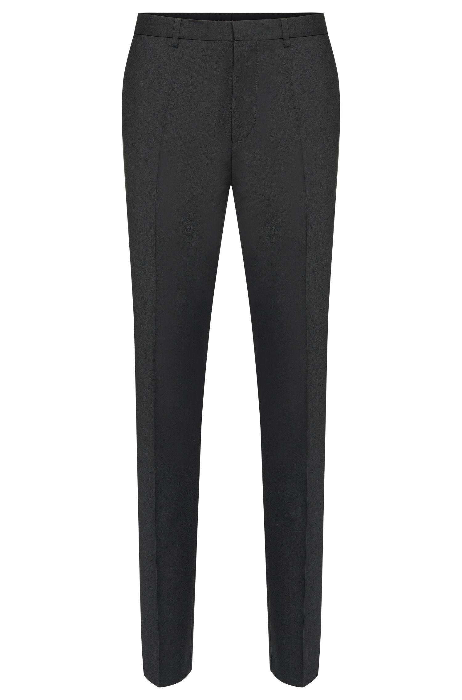 Unifarbene Slim-Fit Hose aus Schurwolle: 'HartleyS', Schwarz