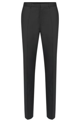 Pantaloni slim fit in lana vergine in tinta unita: 'HartleyS', Nero