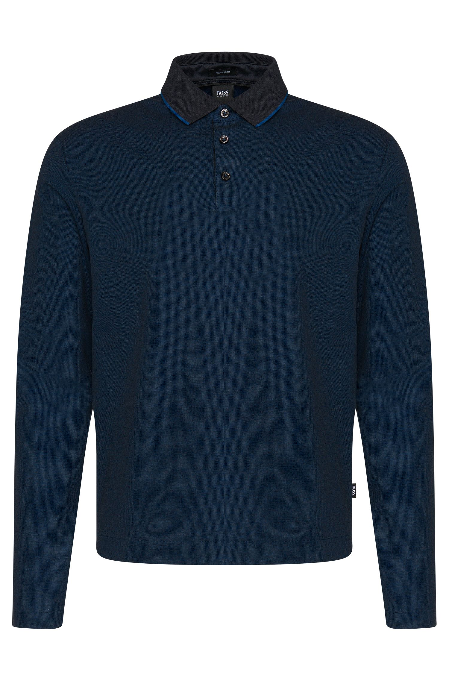 Polo a maniche lunghe regular fit in cotone: 'Pado 05'