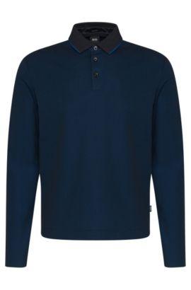 Regular-fit poloshirt met lange mouwen van katoen: 'Pado 05', Donkerblauw