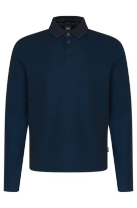 Regular-fit long-sleeved polo shirt in cotton: 'Pado 05', Dark Blue
