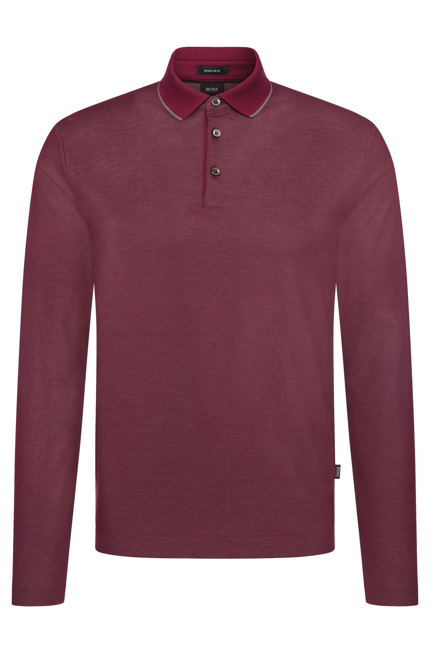 Regular-fit long-sleeved polo shirt in cotton: 'Pado 05'