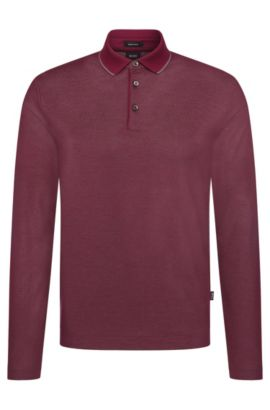 Regular-fit long-sleeved polo shirt in cotton: 'Pado 05', Dark Purple