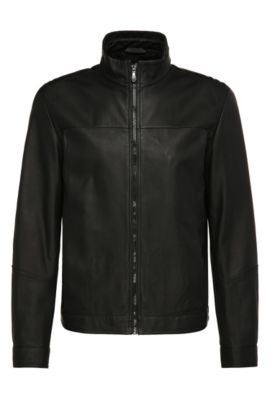 Regular-fit leather jacket in bomber-jacket style: 'Jalpin', Black