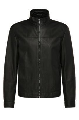 Blouson en cuir Regular Fit de style blouson: «Jalpin», Noir