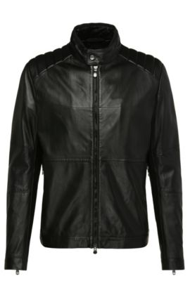 Slim-fit leather jacket with perforations: 'Jiker', Black