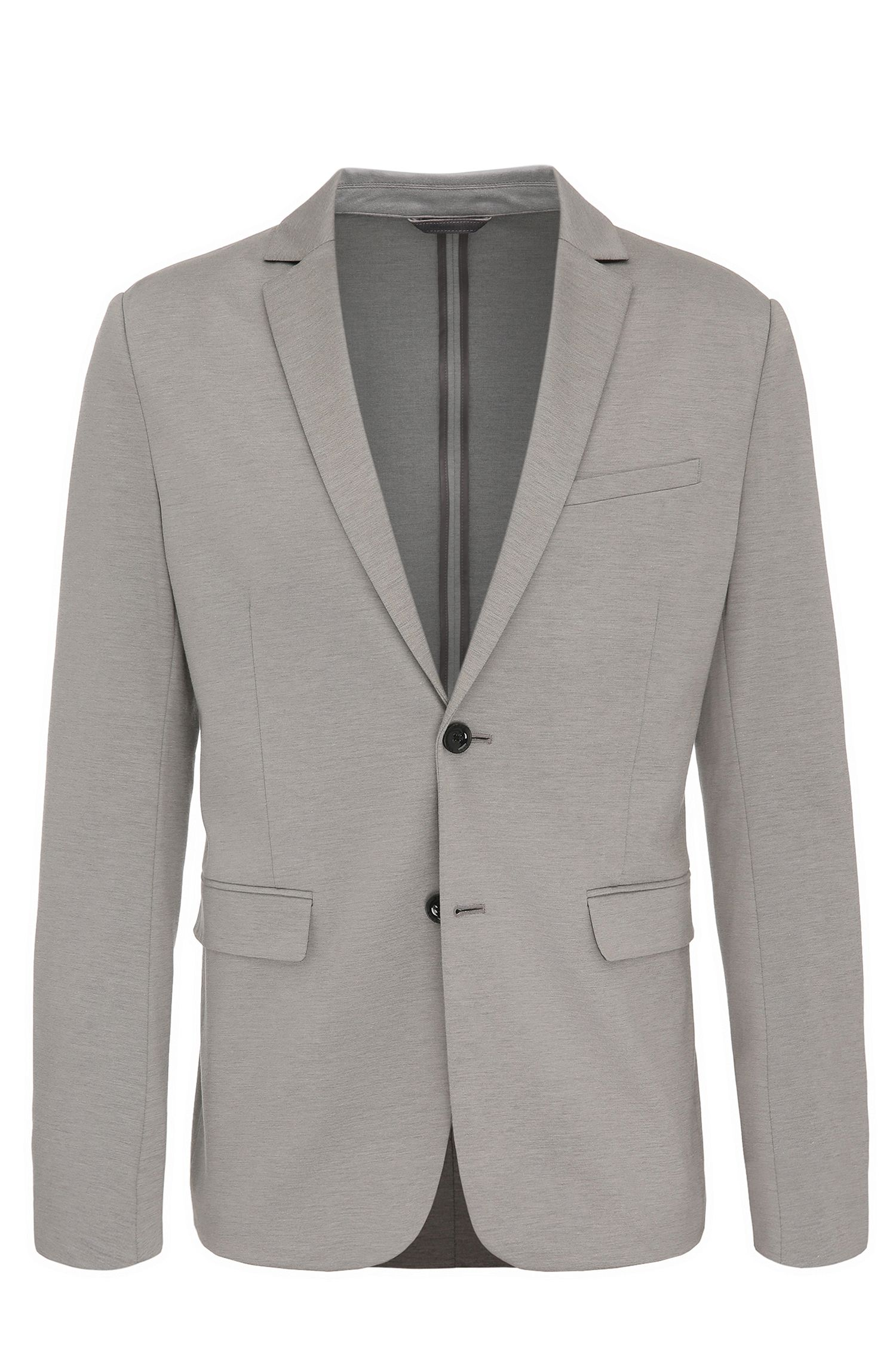 Slim-fit jacket in a cotton blend with a melange look: 'Aloon'