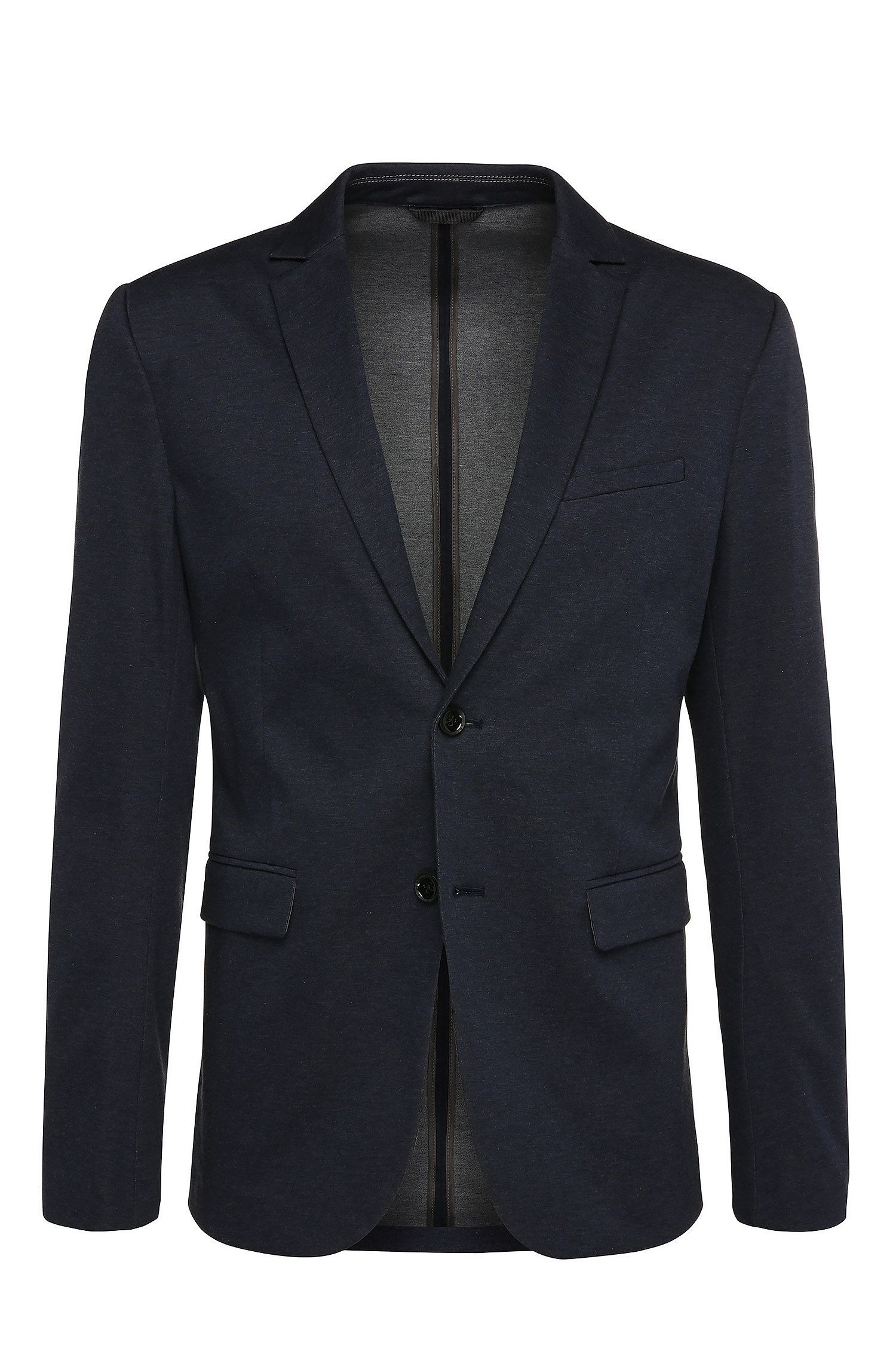 Giacca slim fit in misto cotone dal look mélange: 'Aloon'