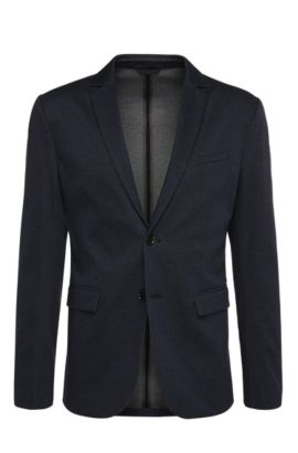 Slim-fit jacket in a cotton blend with a melange look: 'Aloon', Dark Blue