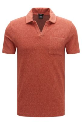 Mottled slim-fit polo shirt in cotton blend: 'Place 18', Open Red