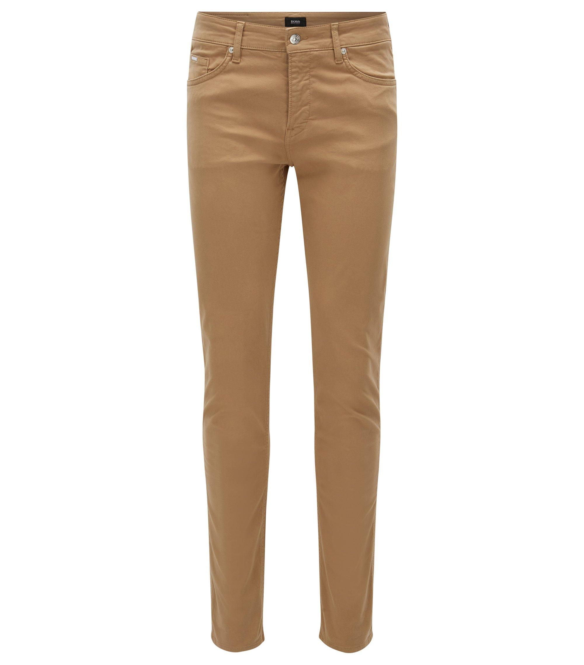 Slim-Fit Jeans aus glänzendem Stretch-Denim, Beige