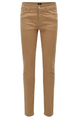 Slim-fit jeans van satijnen stretchdenim, Beige