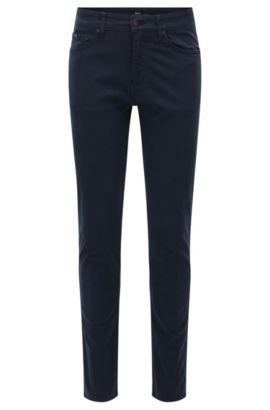 Jeans slim fit in denim elasticizzato effetto raso, Blu scuro
