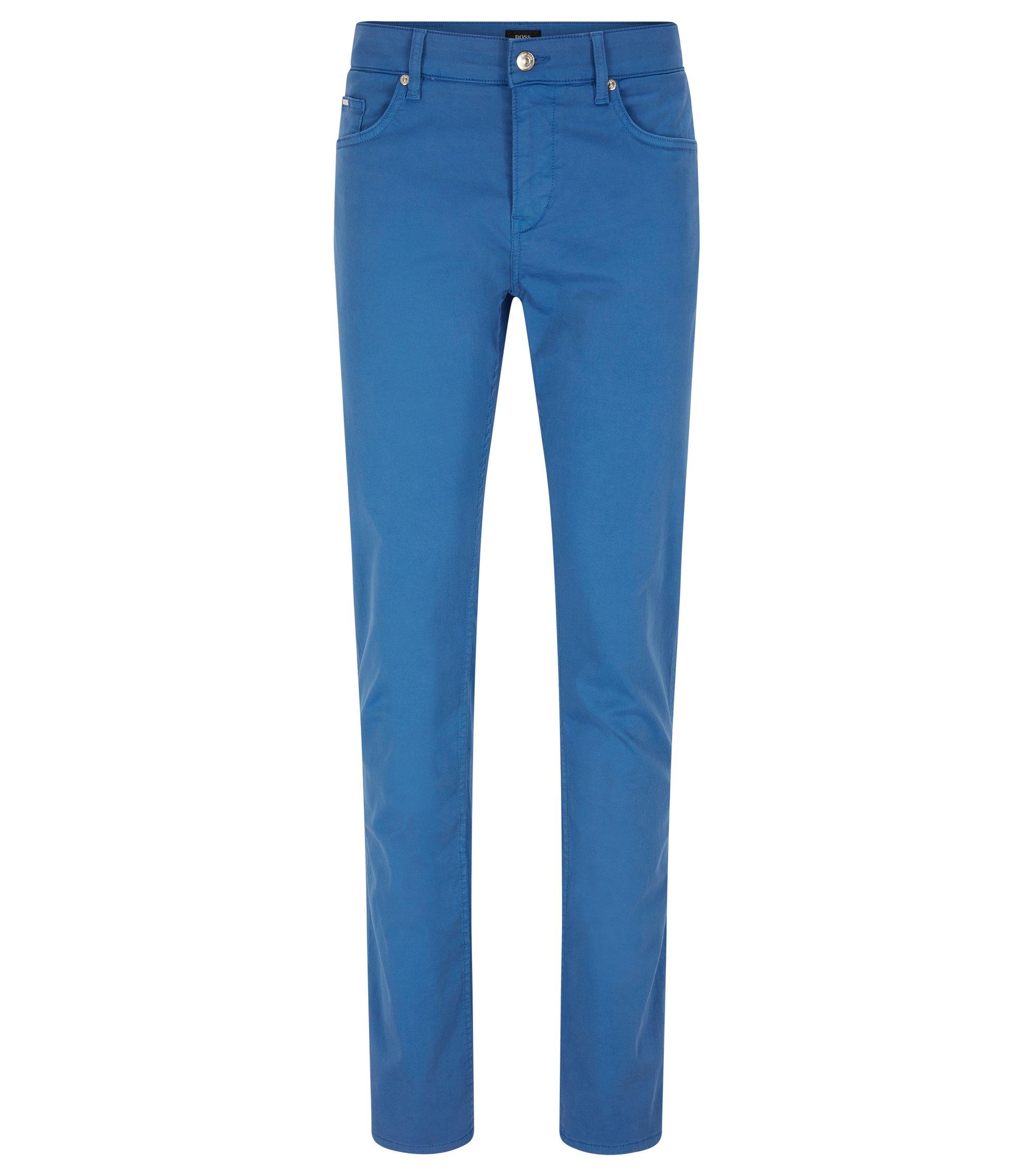 Jeans Slim Fit en denim stretch effet satin, Bleu