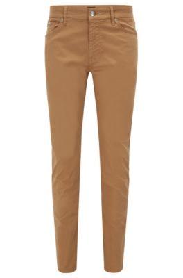 Jeans Regular Fit en denim stretch effet satin, Beige
