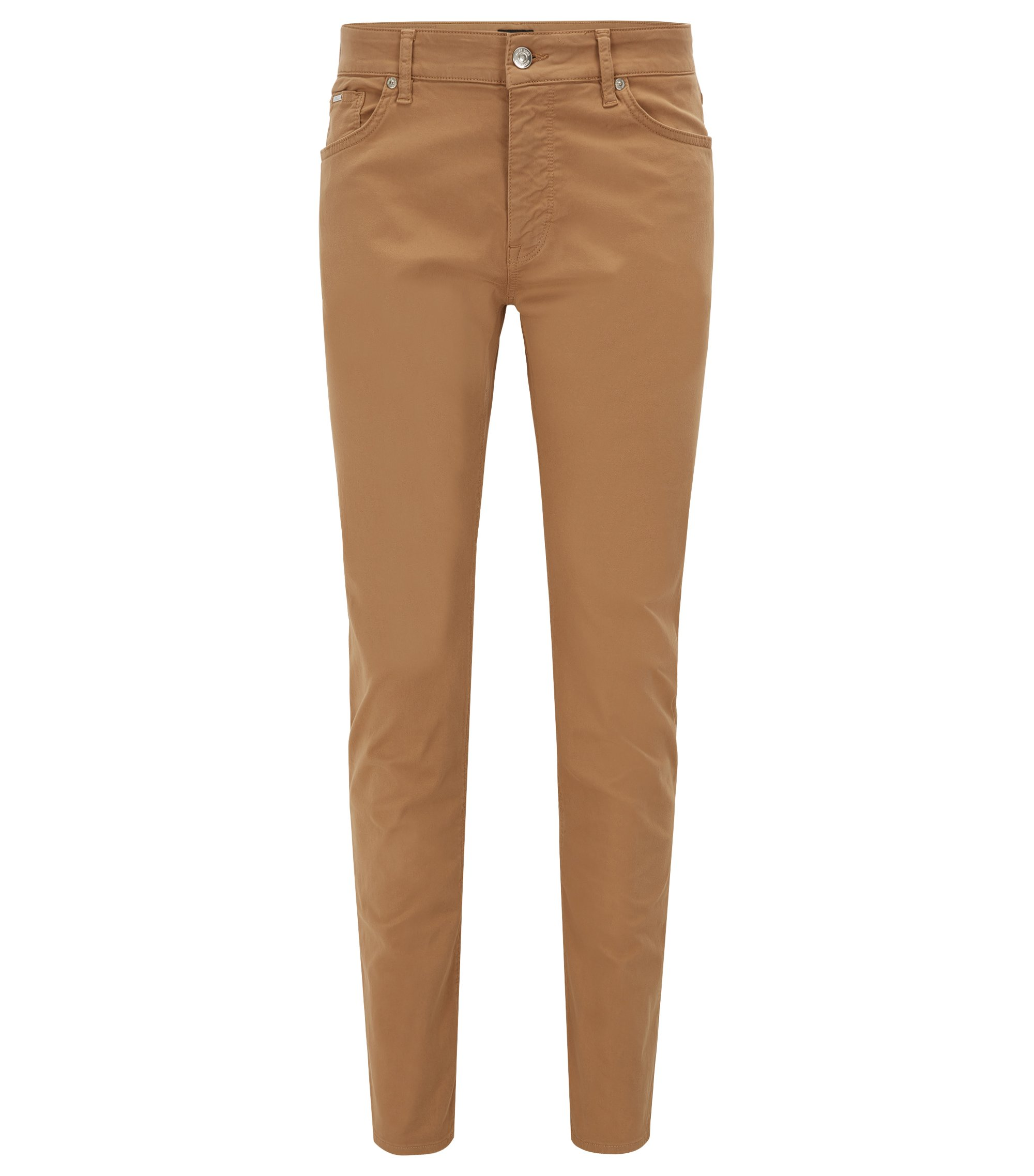Regular-fit jeans in satin stretch denim, Beige