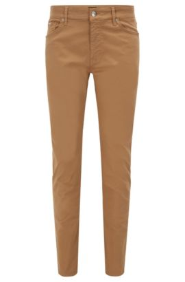 Jeans Regular Fit en denim stretch effet satin, Beige