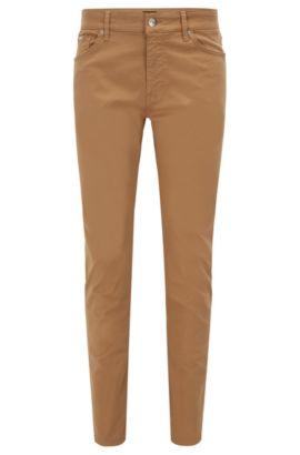 Regular-fit jeans in satin stretch denim, Beige