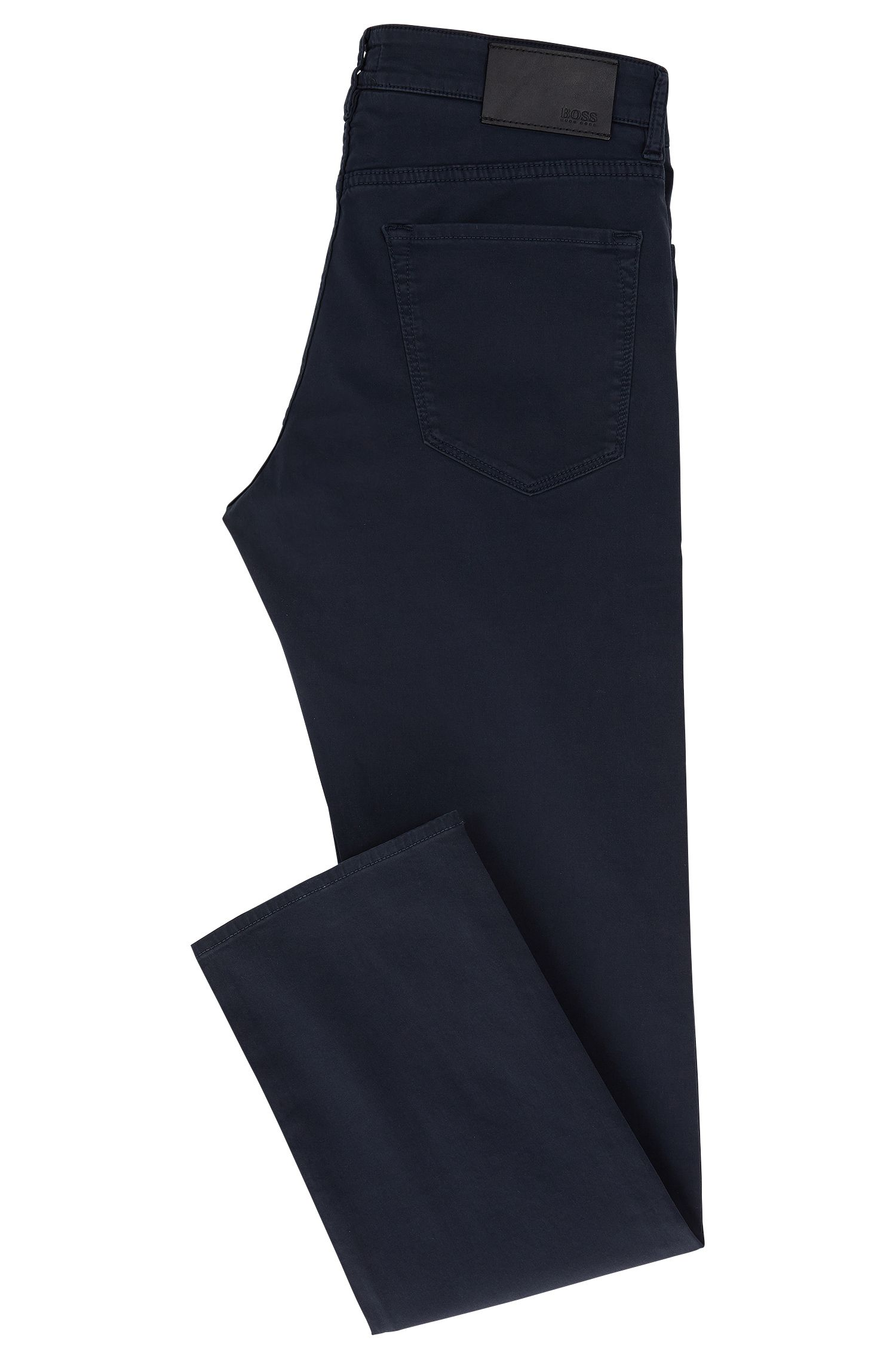 Regular-fit jeans in satin stretch denim, Dark Blue