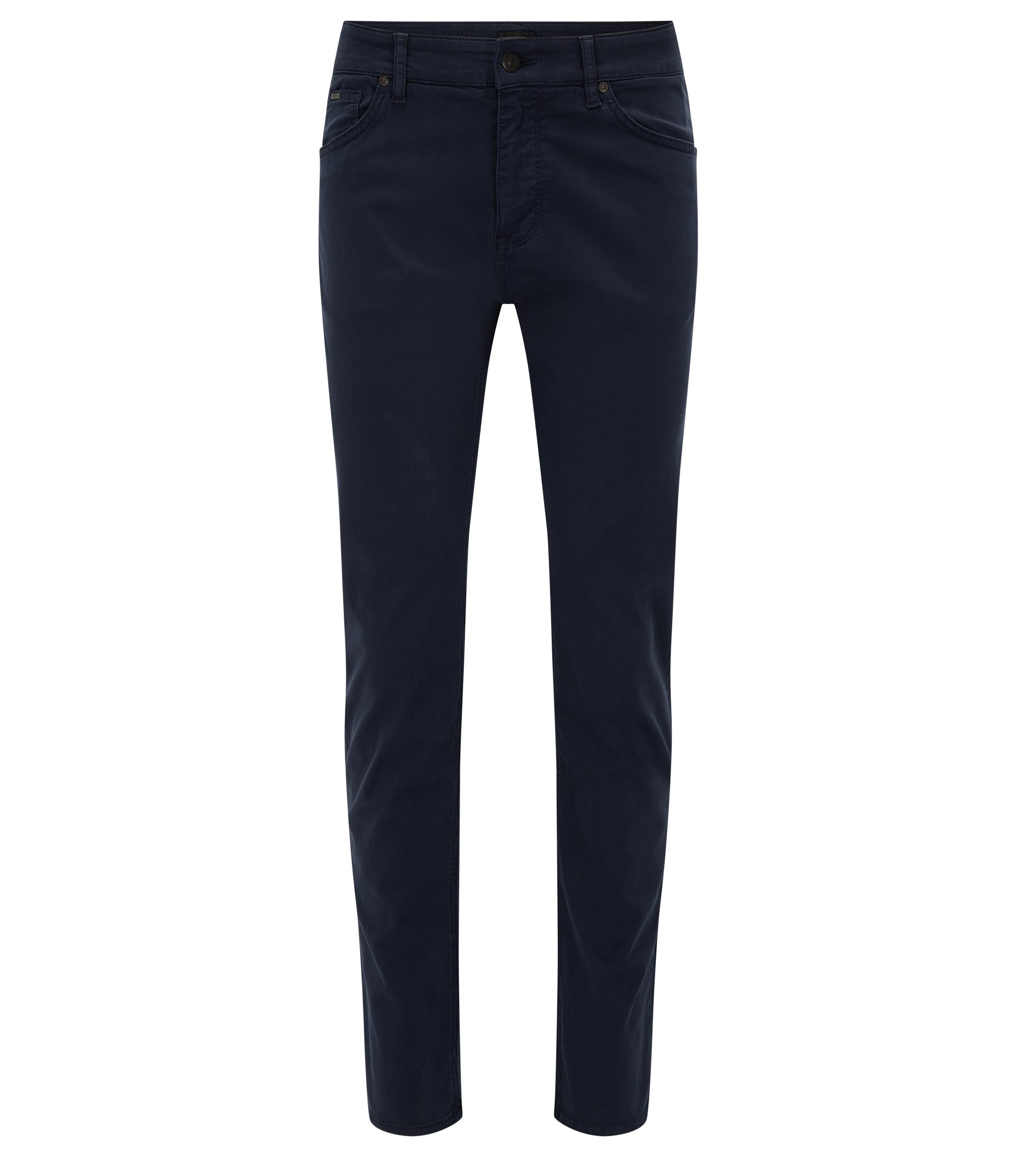 Jeans Regular Fit en denim stretch effet satin, Bleu foncé