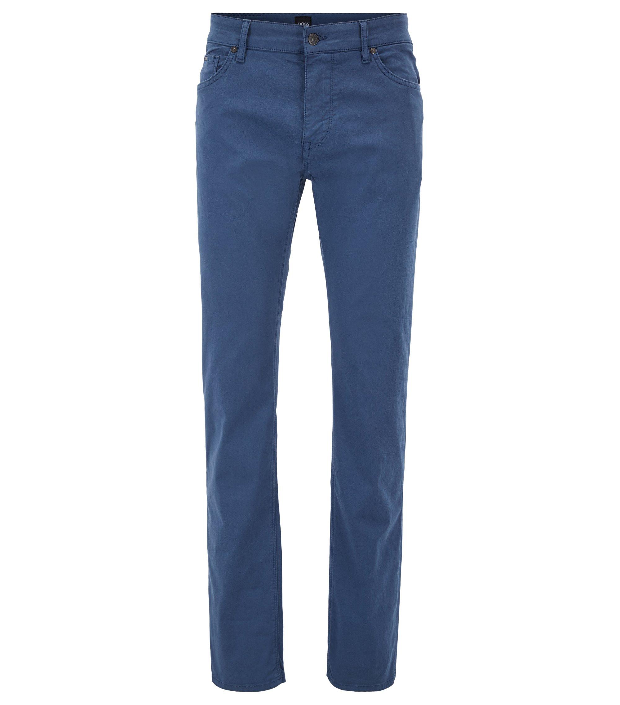 Jeans regular fit in denim elasticizzato effetto raso, Blu scuro