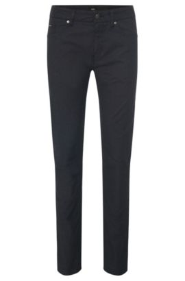 Slim-fit trousers in textured stretch cotton: 'Delaware3-20', Anthracite