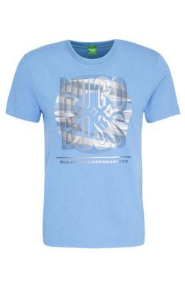 Maglietta in cotone regular fit con stampa: 'Tee 3', Blu